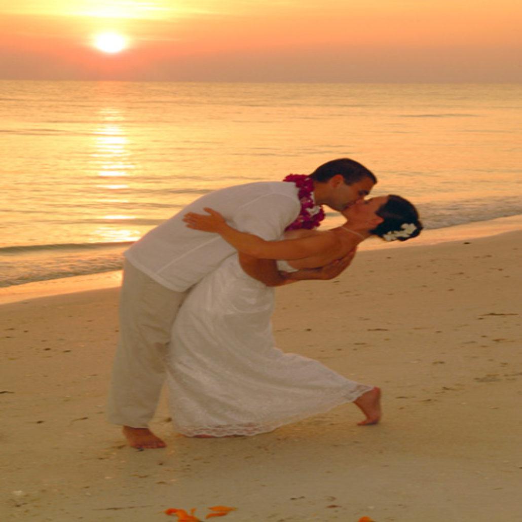 Siesta Key Beach Wedding Ceremony: 1. Kissing Couple Sunset Beach Ceremony Siesta Key FL