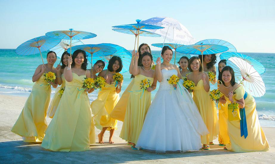 Lido Beach Florida Beach Wedding: 30. Bride And Bridesmaids On Lido Beach Florida