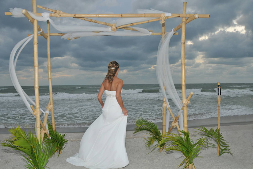 Natural Bamboo Trellis Sarasota Florida Beach Wedding