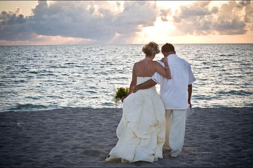 Newly Weds Sunset Beach Wedding Sarasota FL
