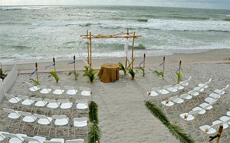 Bamboo Ceremony Set Up On Venice Beach Florida