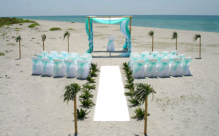 Aqua Bamboo Trellis Florida Beach Wedding