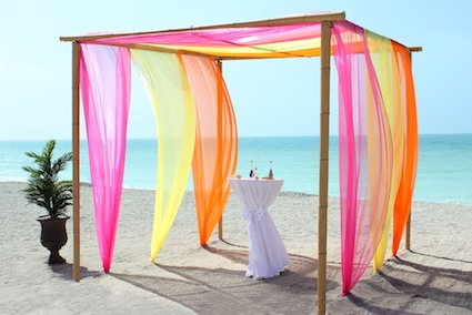 Beach Wedding Florida Bamboo Trellis Orange Pink Yellow