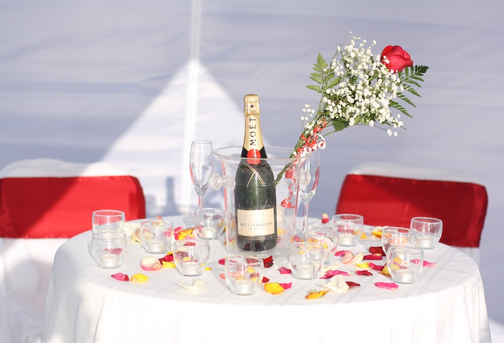 Romantic Engagement Table Setting with Champagne | Florida Beach ...