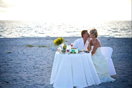 sunset wedding table for two