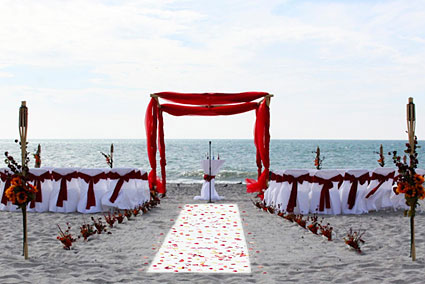 1 Red Bamboo Arbor Lido Beach Wedding