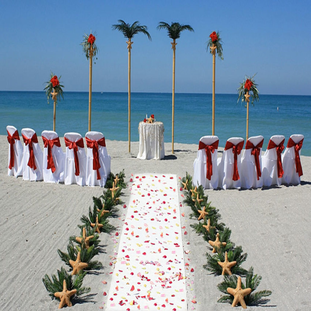 Siesta Key Beach Wedding Ceremony: 9_red_petals_palms_set_beach_ceremony_siesta_florida