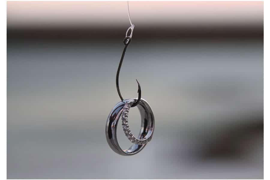 Wedding ring on fish hook florida beach wedding siesta for Fish hook wedding ring