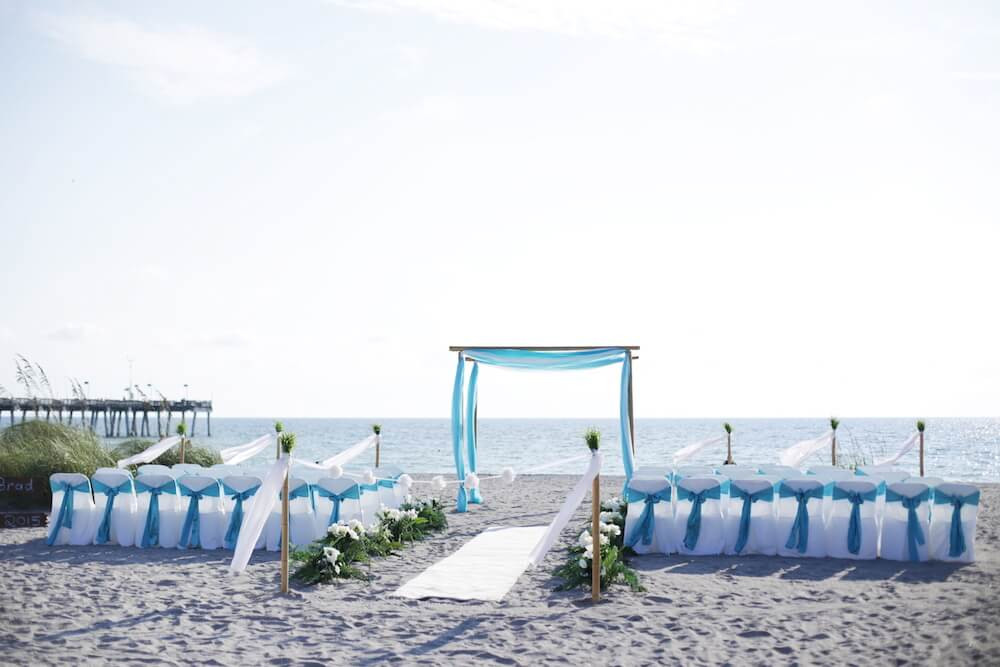 Ocean Waves Aqua Beach Wedding Package With White Carpet Runner