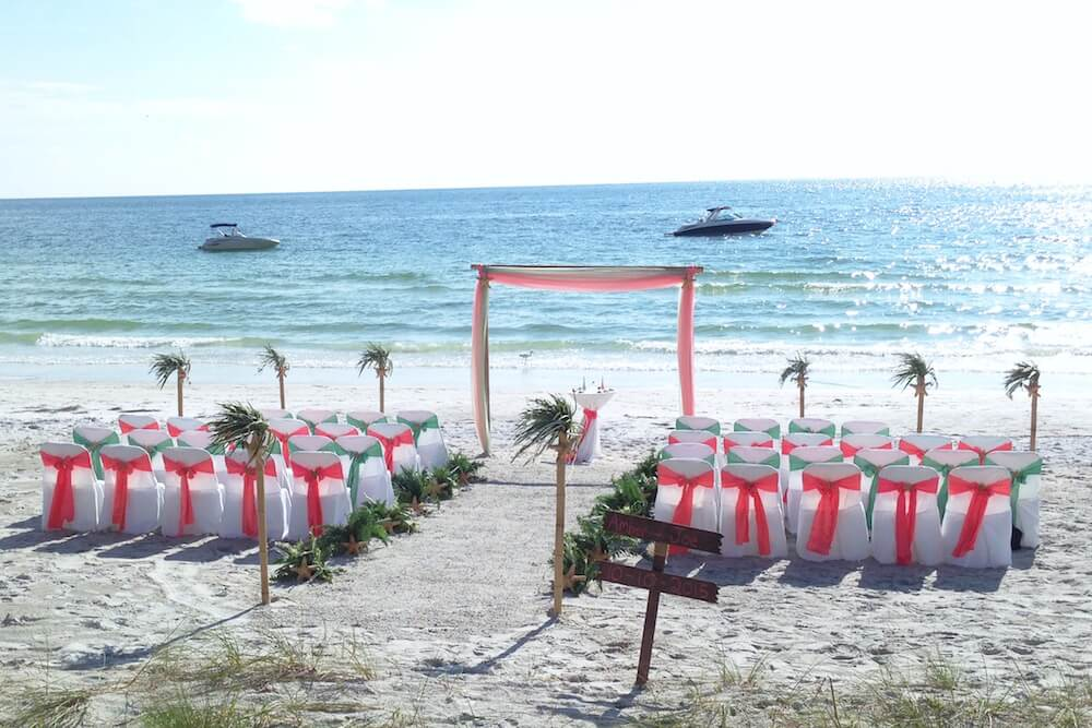 beach wedding chairs. Tropical Breeze Beach Wedding Package In Coral And Sage | Florida Sun Weddings Chairs