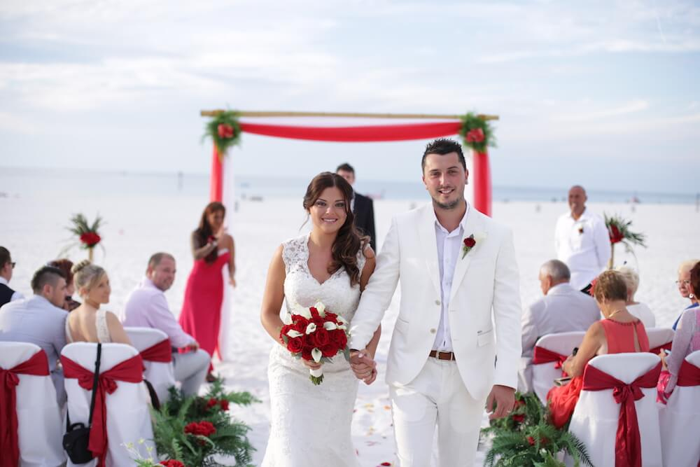 Tropical Breeze Beach Wedding Package In White And Red