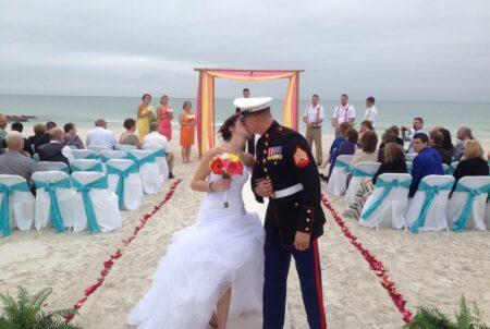 whispering sands custom colors beach weddings package   florida beach wedding