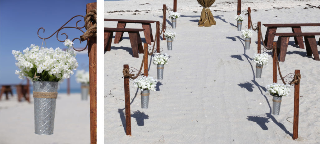 rustic beach wedding aisle | florida sun weddings