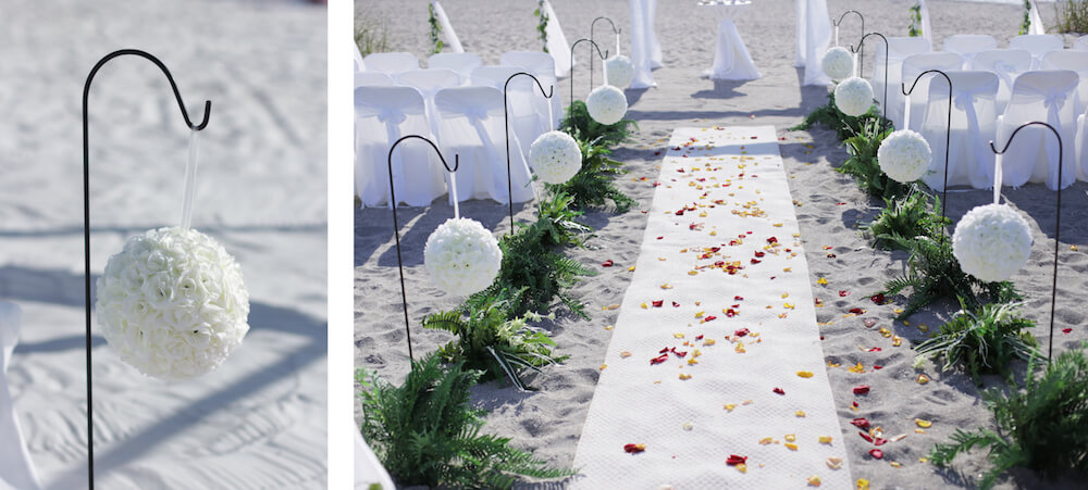 kissing balls on shepherd's hooks | floridasunweddings.com