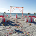 sea stars beach wedding package in white and pink kissing balls | floridasunweddings.com