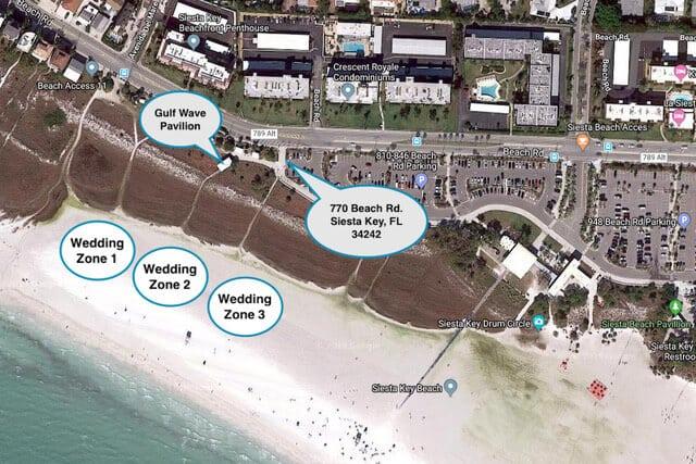 Siesta Key Florida Beach Wedding Location Map