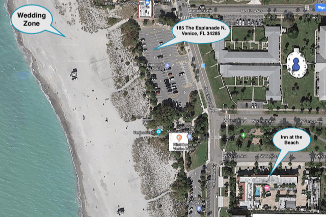 Venice Florida Beach Wedding Location Map
