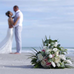 Bouquet Photo with Wedding Couple on Beach in Florida