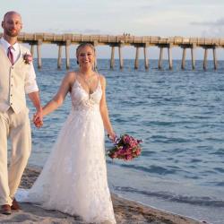 Bride and Groom Walking on Florida Gulf Coast - Sharkey's at Venice Beach