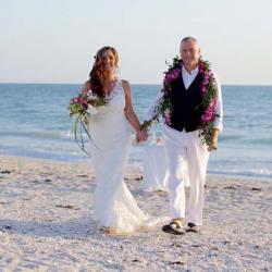 Florida Beach Wedding Photography - Bride and Groom Walking on Beach