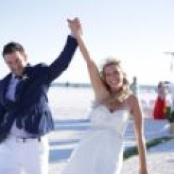 Forever Yours Natural Bamboo in White beach wedding package Lesley and Adam say I Do | florida sun weddings