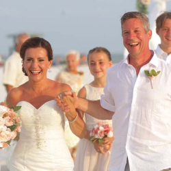 Bride and Groom Walking Down the Aisle at Florida Beach Wedding Ceremony