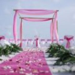 ocean waves pink beach wedding package with pink carpet runner | floridasunweddings.com
