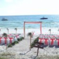 tropical breeze beach wedding package in coral and sage | florida sun weddings