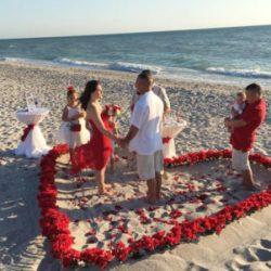 beach wedding on siesta kay florida | heart of rose petals in the sand