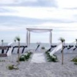florida beach wedding ocean waves in white