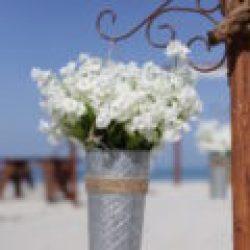 french flower bucket |rustic beach wedding
