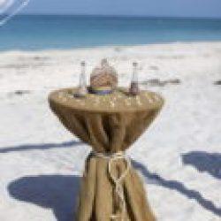 beach wedding sand ceremony table burlap florida sun weddings