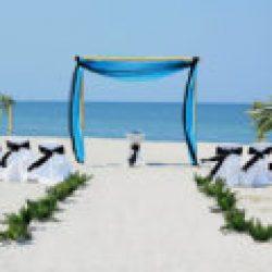 tropical breeze beach wedding package in aqua and black | florida sun weddings