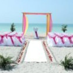 whispering sands trellis with pink orange and yellow | floridasunweddings.com